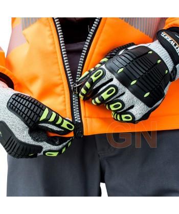 Softshell bicolor en alta visibilidad con triple capa color naranja alta visibilidad/negro