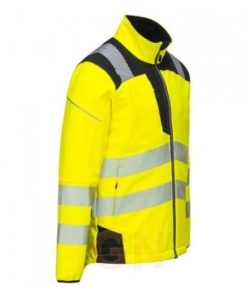 Softshell bicolor en alta visibilidad con triple capa color amarillo alta visibilidad/negro