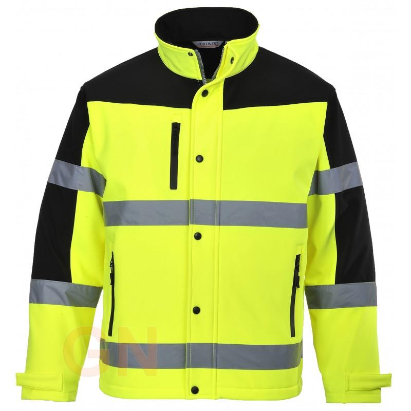 Chaqueta softshell tricapa bicolor en negro/amarillo alta visibilidad. Portwest S429