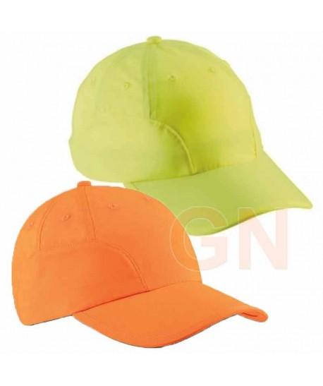 Gorra naranja y amarillo alta visibilidad y ajuste con velcro