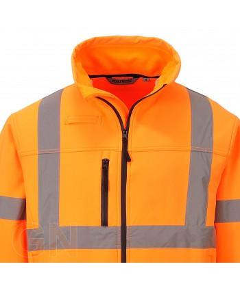 Cazadora softshell tricapa naranja alta visibilidad.