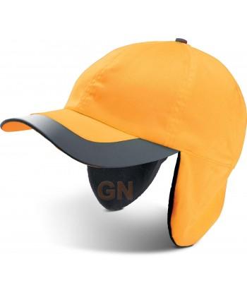 Gorra naranja alta visibilidad con orejeras y cintas reflectantes