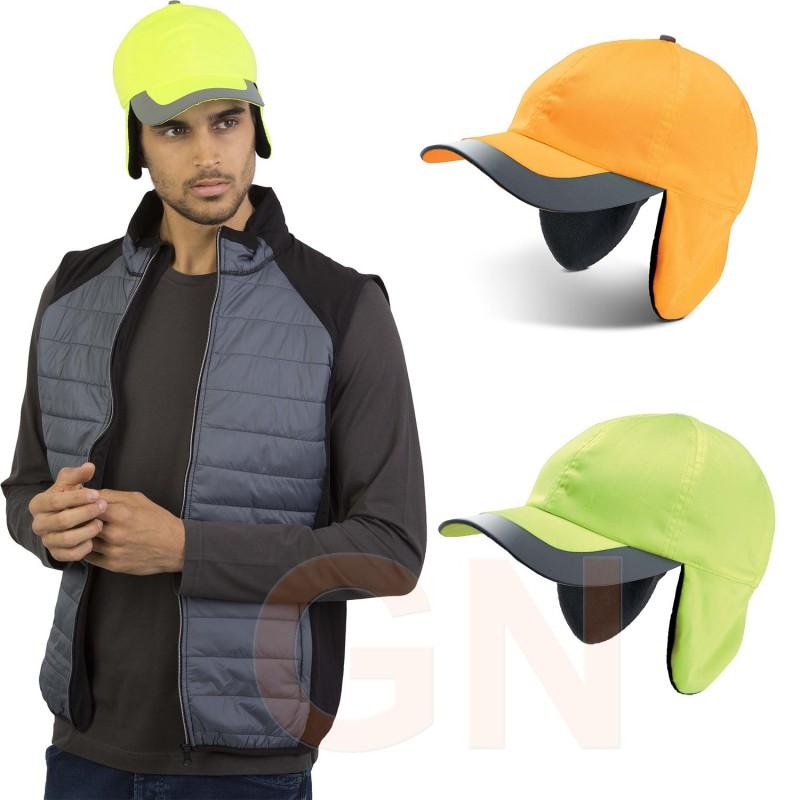 Gorra amarillo alta visibilidad con orejeras y cintas reflectantes