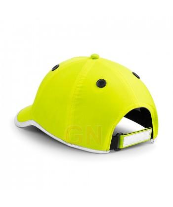 Gorra de seguridad amarillo alta visibilidad con bordes reflectantes