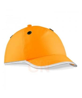 Gorra de seguridad naranja alta visibilidad con bordes reflectantes