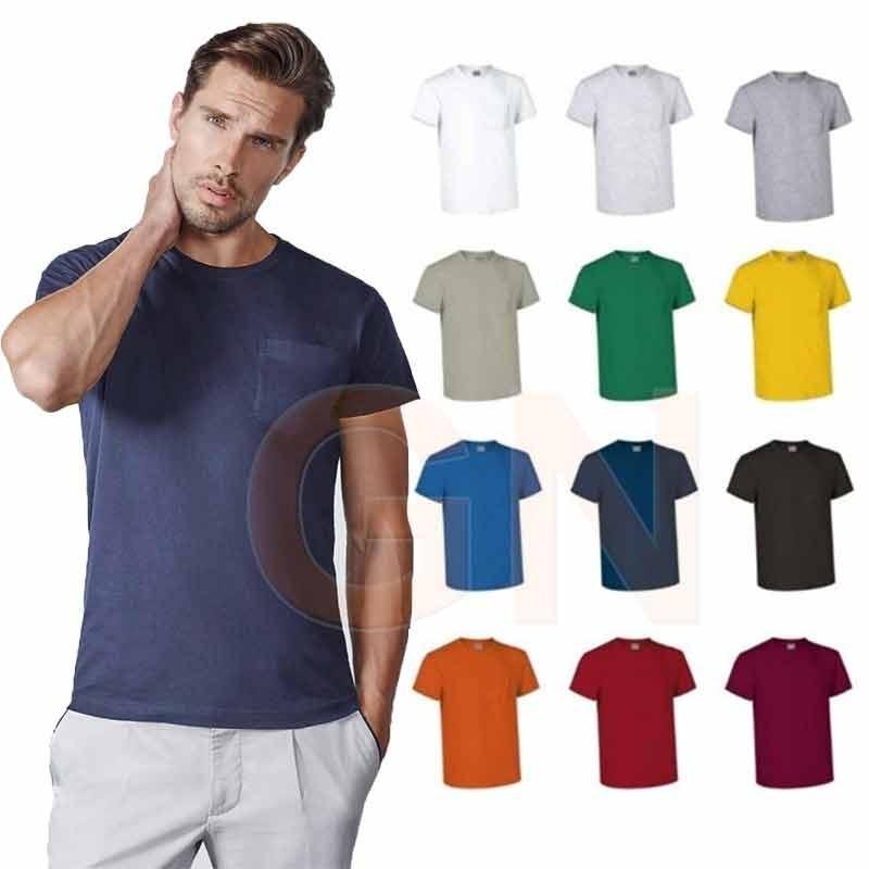 Camiseta cuello redondo con bolsillo
