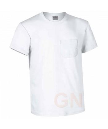 Camiseta manga corta de algodón de cuello redondo con bolsillo color Blanco