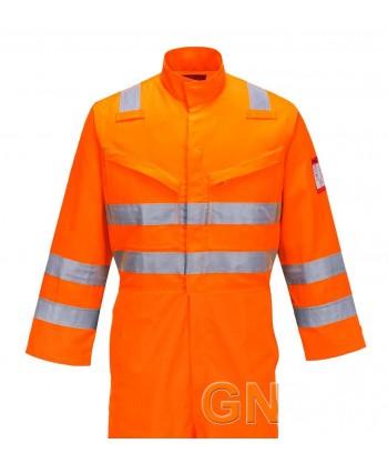 Buzo ignífugo de aramida color naranja alta visibilidad