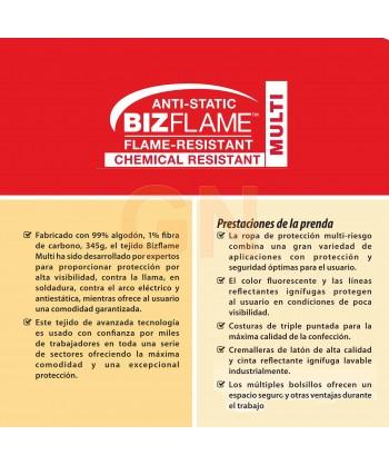Buzo antiestático, ignífugo, anti arco eléctrico, protección química