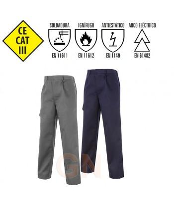 Pantalón de grueso ignífugo y antiestático color marino y gris