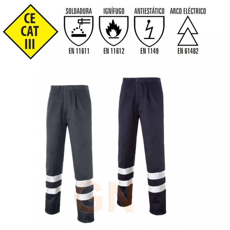 Pantalón de grueso ignífugo y antiestático color marino y gris con cintas reflectantes