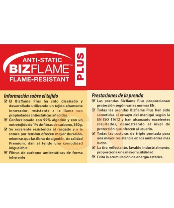 Pantalón ignífugo, antiestático y anti arco