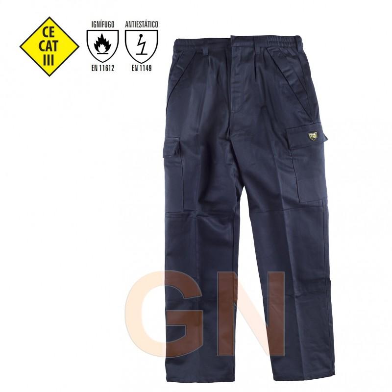 Pantalón grueso ignífugo y antiestático color marino
