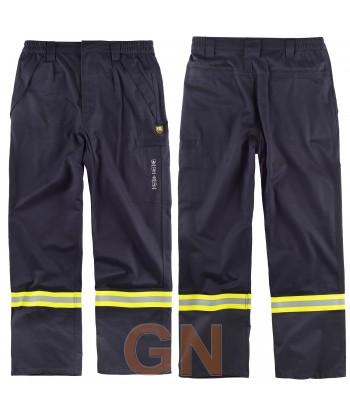 Pantalón modacrílico ignífugo y antiestático color marino con cintas bicolor
