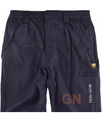 Pantalón de grueso ignífugo y antiestático color marino con cintas bicolor
