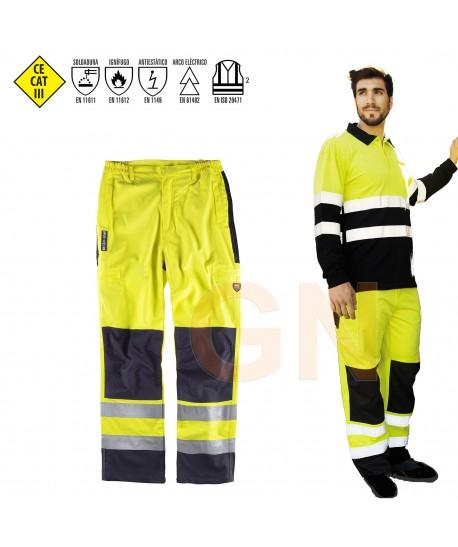 Pantalón modacrílico multinorma bicolor amarillo alta visibilidad