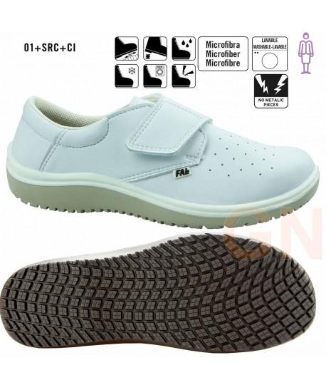 Zapato sanitario de mujer perforado y transpirable cierre velcro