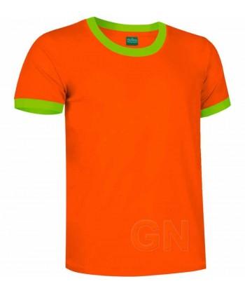 Camiseta de algodón de manga corta bicolor Color naranja/verde manzana