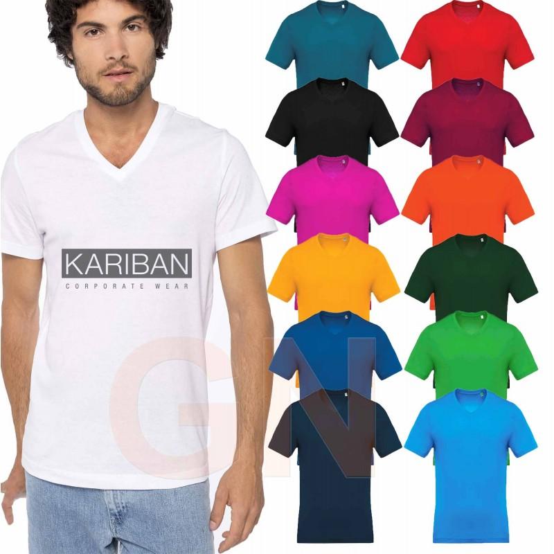 Camiseta de algodón con cuello pico y manga corta