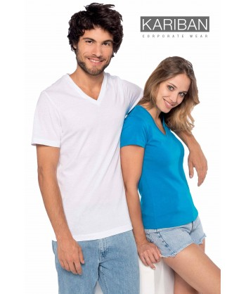 Camiseta de algodón con cuello pico y manga corta Color blanco y celeste