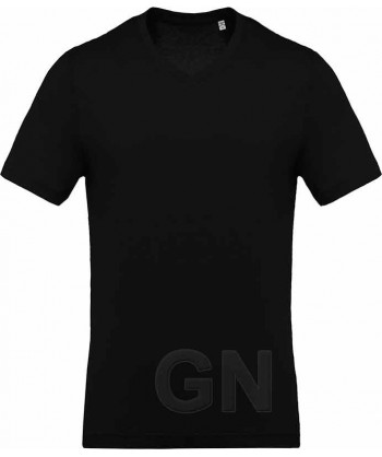 Camiseta de algodón con cuello pico y manga corta Color negro