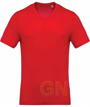 Camiseta de algodón con cuello pico y manga corta Color rojo
