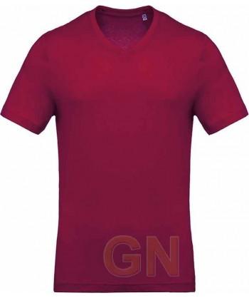 Camiseta de algodón con cuello pico y manga corta Color burdeos