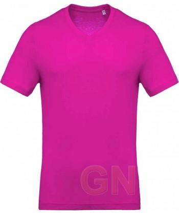 Camiseta de algodón con cuello pico y manga corta Color fucsia