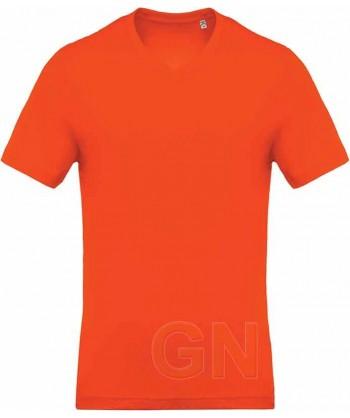 Camiseta de algodón con cuello pico y manga corta Color naranja