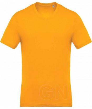 Camiseta de algodón con cuello pico y manga corta Color amarillo