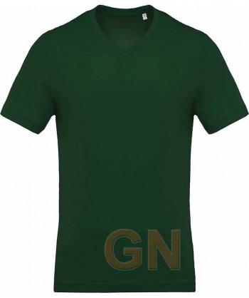 Camiseta de algodón con cuello pico y manga corta Color verde bosque