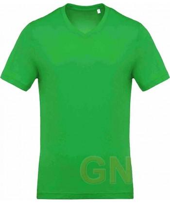 Camiseta de algodón con cuello pico y manga corta Color verde kelly
