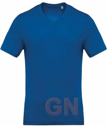 Camiseta de algodón con cuello pico y manga corta Color royal