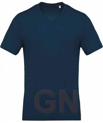 Camiseta de algodón con cuello pico y manga corta Color marino