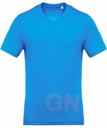 Camiseta de algodón con cuello pico y manga corta Color azul tropical