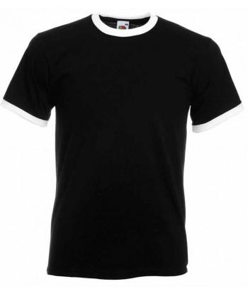 Camiseta combinada de manga corta de Fruit of the Loom color negro/blanco