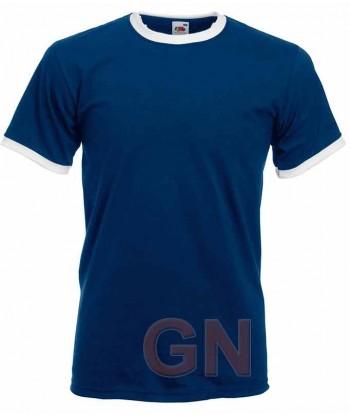 Camiseta combinada de manga corta de Fruit of the Loom color marino/blanco