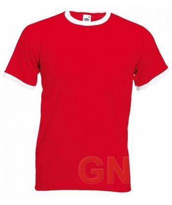 Camiseta combinada de manga corta de Fruit of the Loom color rojo /blanco
