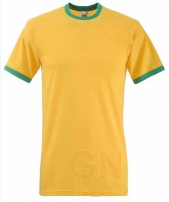 Camiseta combinada de manga corta de Fruit of the Loom color amarillo/verde kelly