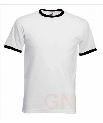 Camiseta combinada de manga corta de Fruit of the Loom color blanco/negro