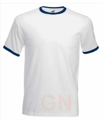 Camiseta combinada de manga corta de Fruit of the Loom color blanco/marino