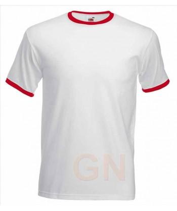 Camiseta combinada de manga corta de Fruit of the Loom color blanco/rojo