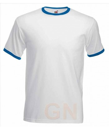 Camiseta combinada de manga corta de Fruit of the Loom color blanco/royal