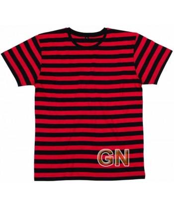 Camiseta cuello redondo y manga corta a rayas