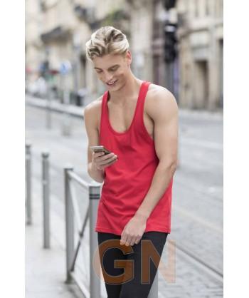 Camiseta de tirantes finos para hombre color rojo