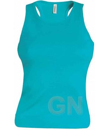 Camiseta de tirantes para mujer color Color turquesa