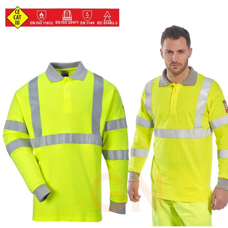Polo ignífugo, antiestático y anti arco eléctrico de alta visibilidad amarillo flúor