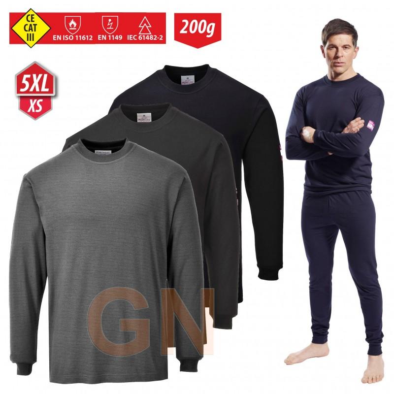 Camiseta interior ignífuga, antiestática, anti arco