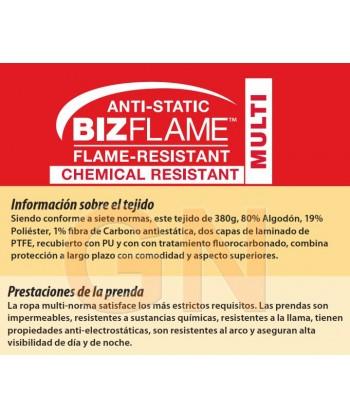 Pantalón acolchado, impermeable, ignífugo, antiestático con protección química en alta visibilidad