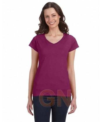 Camiseta de manga corta y cuello pico para mujer Color púrpura